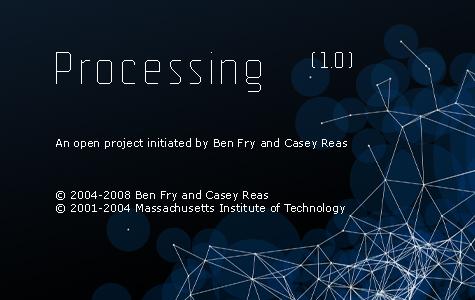 """la pantalla """"acerca de"""" processing en su versión 1.0"""